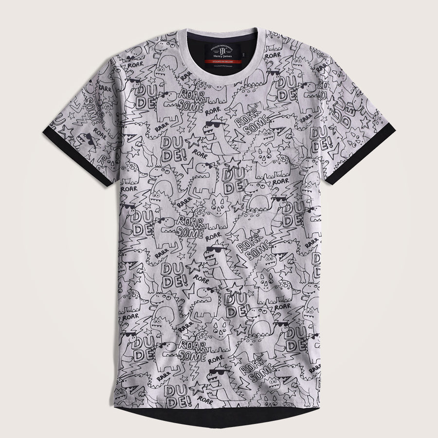 Derward Allover Printed Droptail Crew neck Tee Shirt
