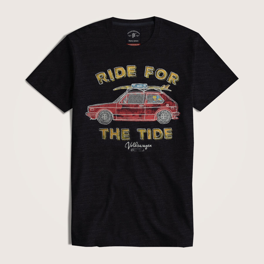 "Conall Short Sleeve Crew Neck Graphic "" RIDE FOR THE TIDE"" Tee shirt"