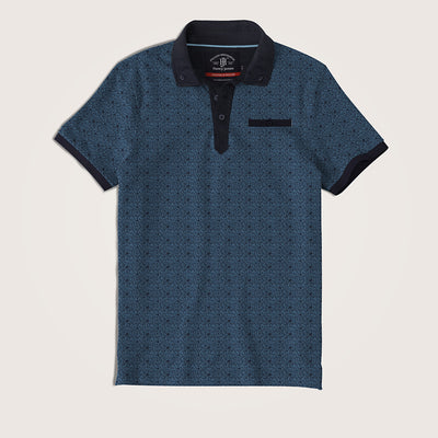 Harrison Printed jersey Solid  Collar Pocket Polo Shirt - Klashcollection.com