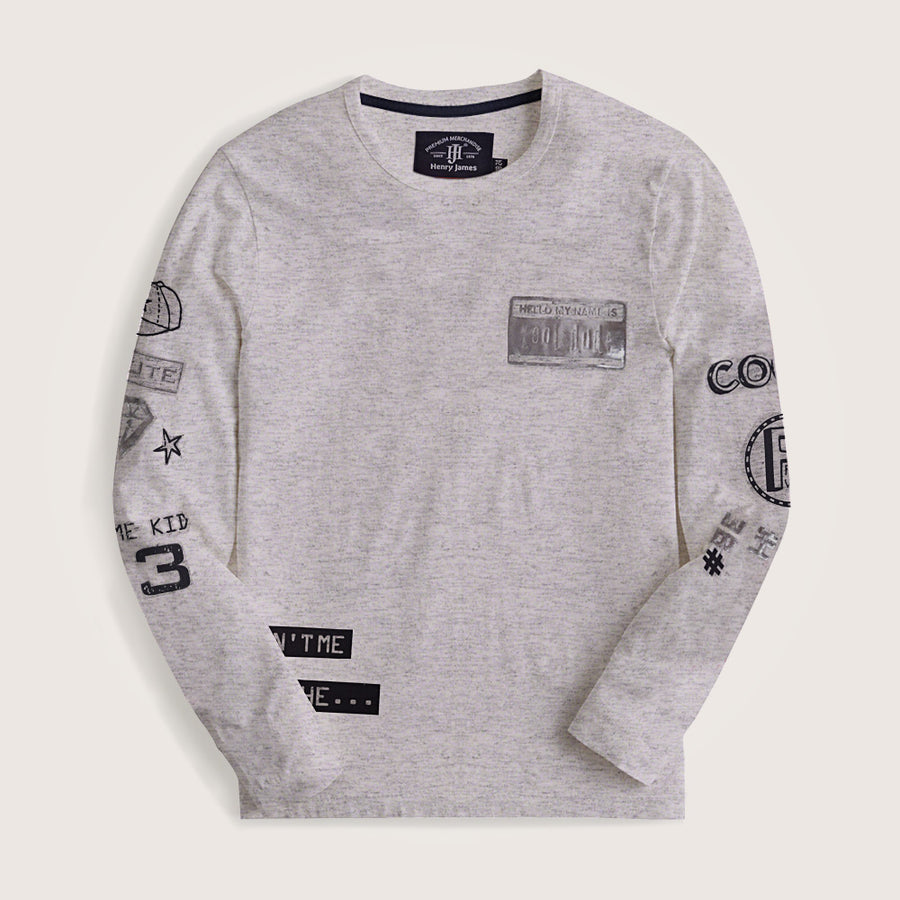 Piers Long Sleeves Stylish Graphic Crew Neck Tee Shirt
