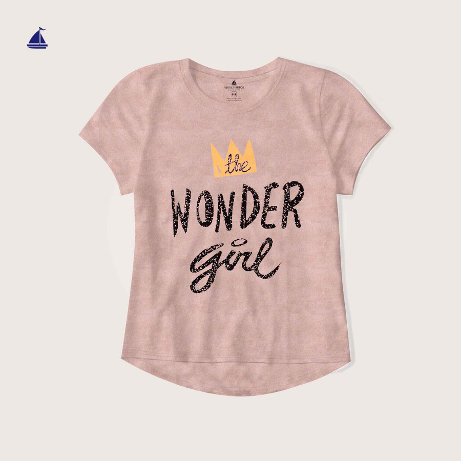 "Rafaella Crew Neck "" Wonder Girl"" Graphic T-Shirt"