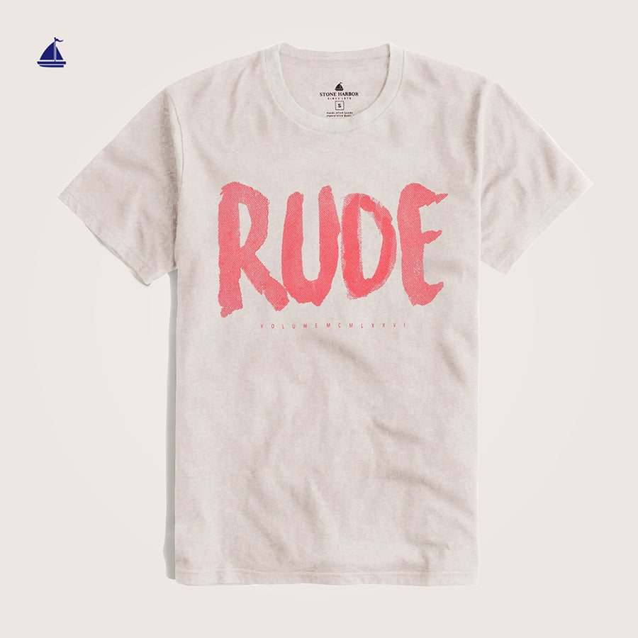 "Stone Harbor Crew Neck ""Rude"" Graphic T-Shirt - Klashcollection.com"