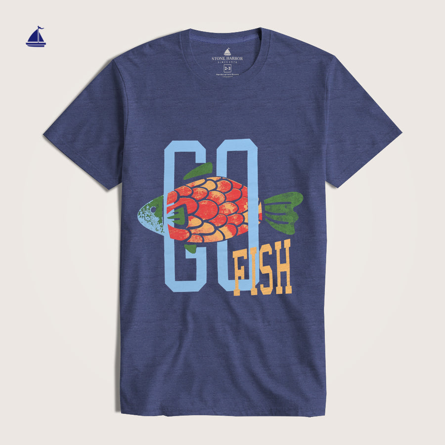 "Stone Harbor Crew Neck Graphic "" Go Fish"" Tee Shirt"