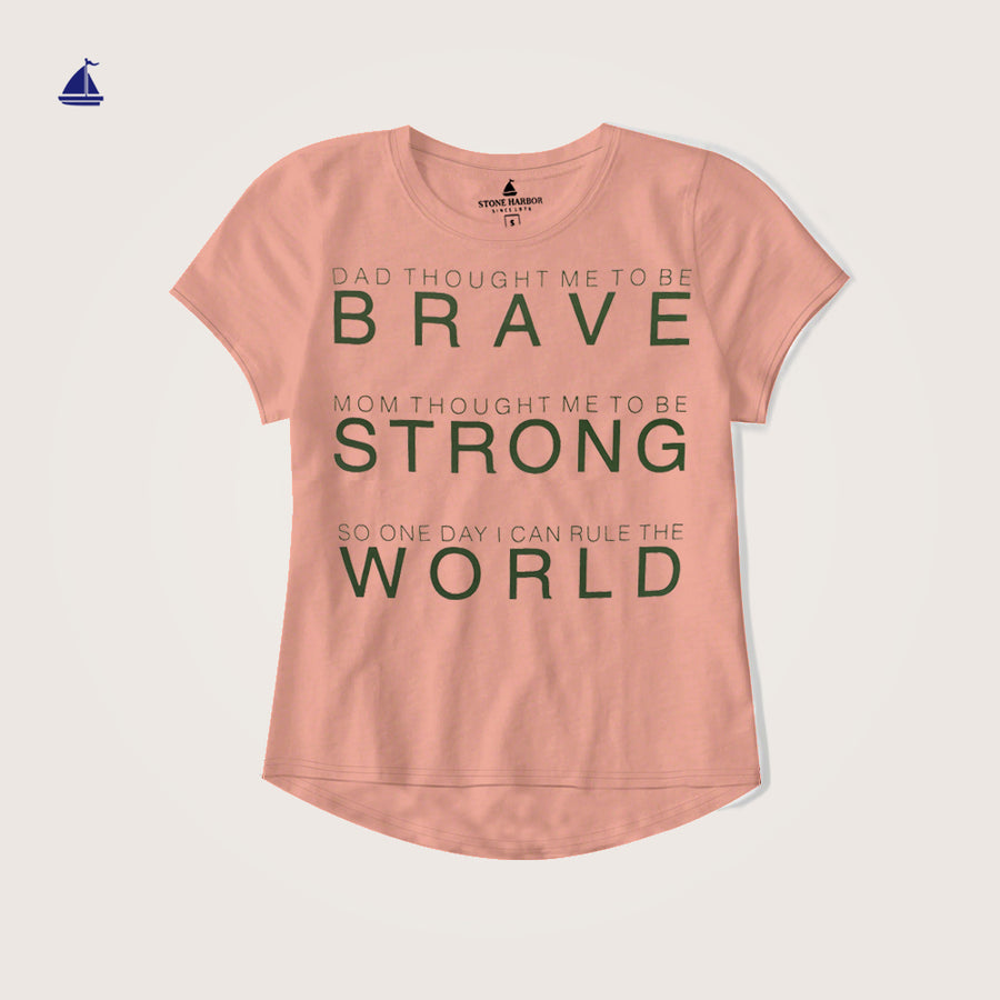 "Stone Harbor Crew Neck Graphic "" Brave"" Drip Tail Tee Shirt"