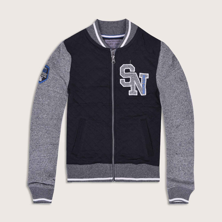 SN Contrast Sleeve Quilted Bomber Jacket - Klashcollection.com