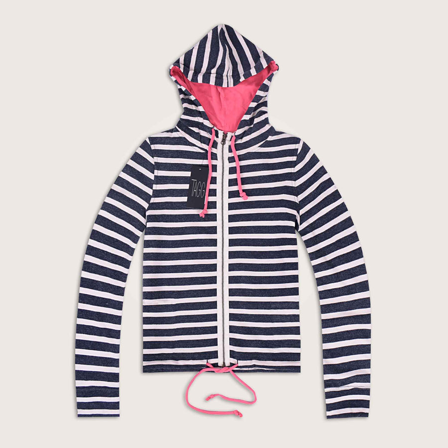 Alessio String Bottom Stripped Cover Neck Zipper Hoodie