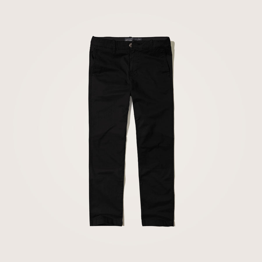 Z.M black Slim Fit Knee Patch Cotton Stretch pants