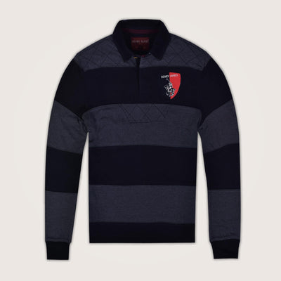 Heavy Weight block Cut and Sew Paneled Long Sleeve Rugby Shirt