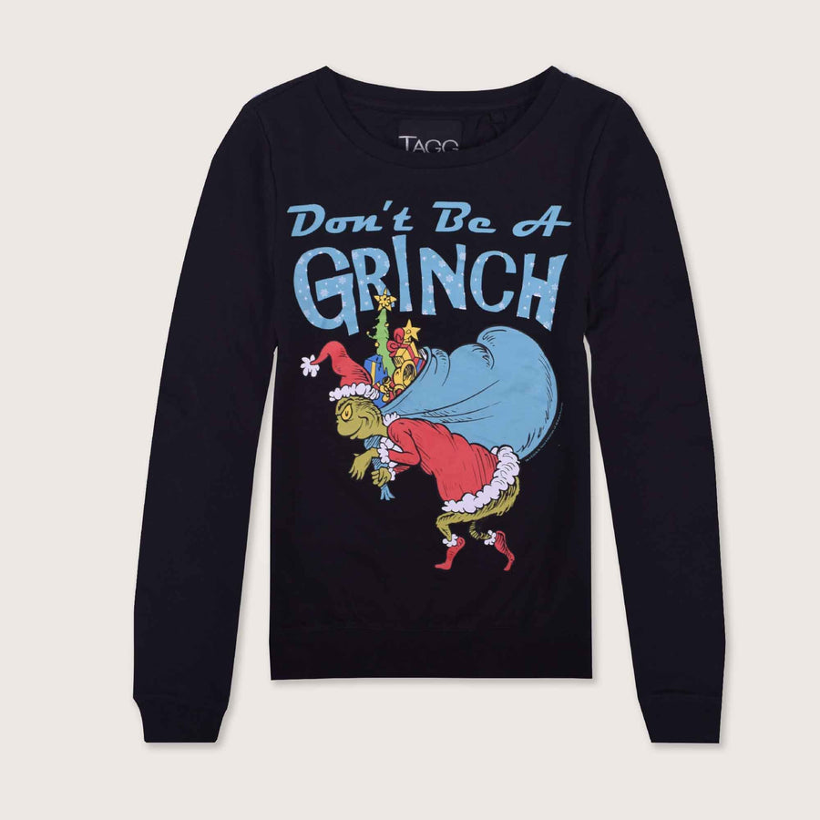 Grinch Long Sleeve Boat Neck Graphic Sweat Shirt