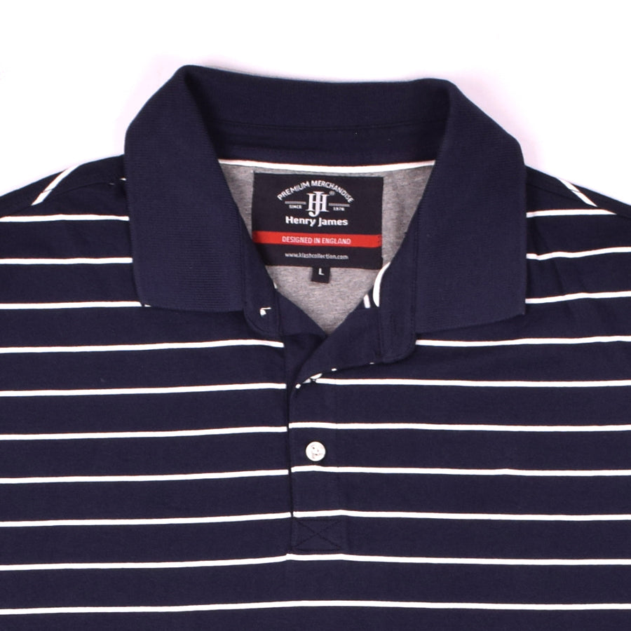 HENRY JAMES FLOCT STRIPE SHORT SLEEVE POLO SHIRT - Crossconnections.com.pk
