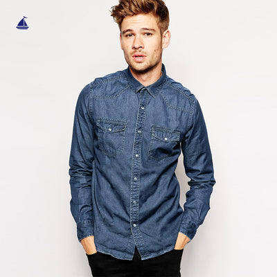 Stone Harbor Crispin Long Sleeves Double Pocket Denim casual Shirt