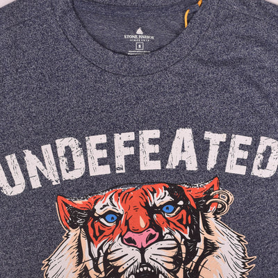 "Stone Harbor textured Crew Neck graphic ""undefeated"" T-Shirt"