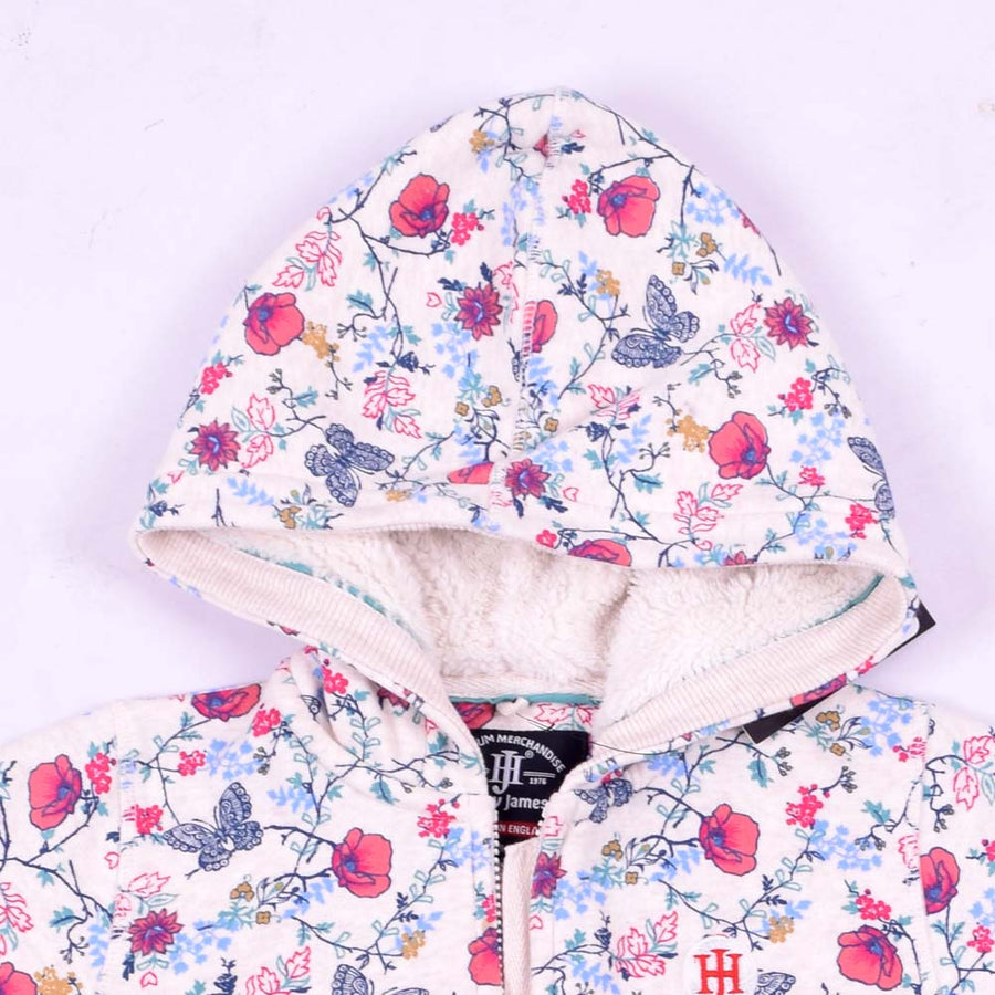 Flora Allover printed zipper hoodie with fur Lining
