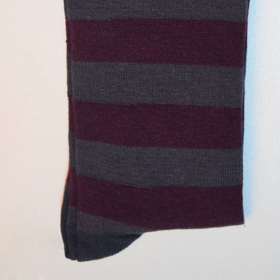 Men's Stone Harbor MAROON STRIPES Long Socks