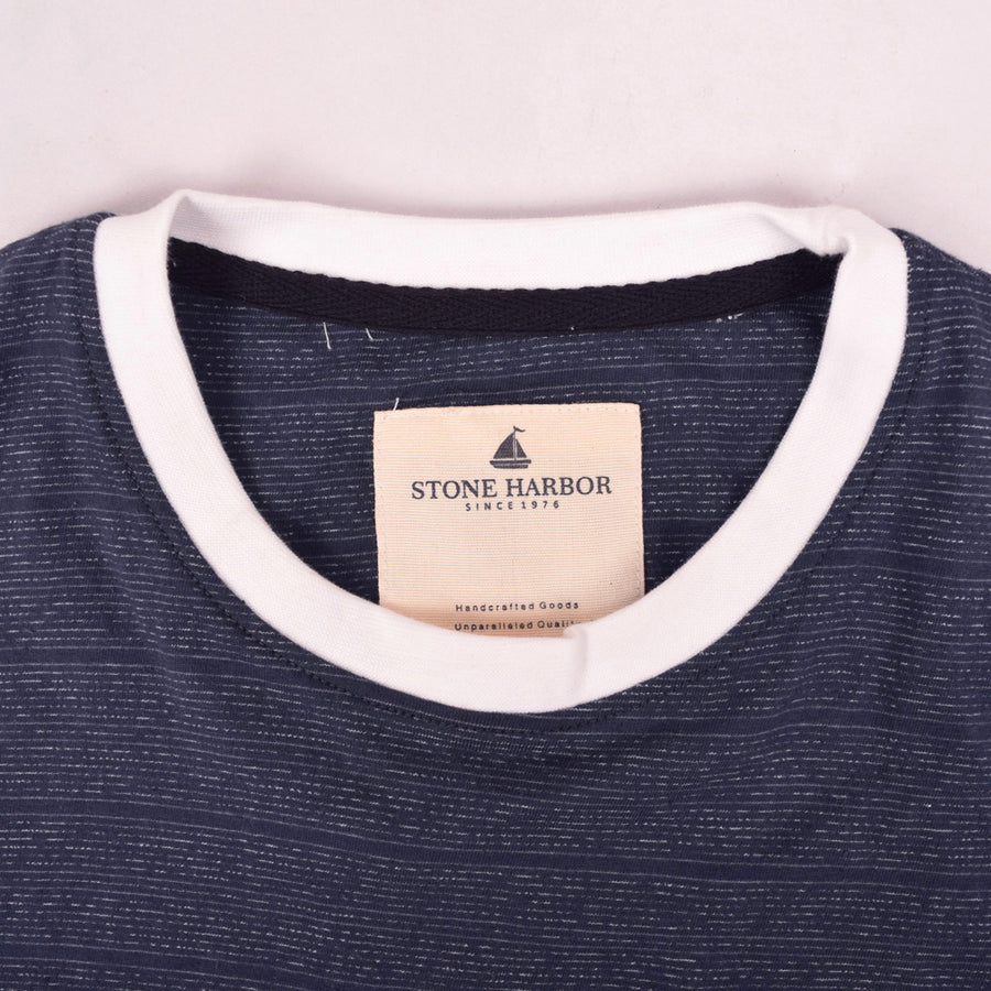 Stone Harbor textured Eng Striped Ringer pocket Tee
