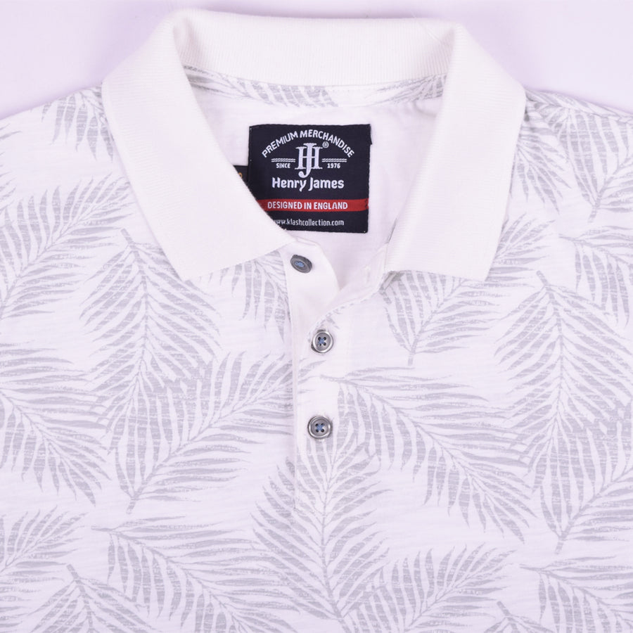 Henry James Allover Leaf Print Short Sleeve Polo Shirt