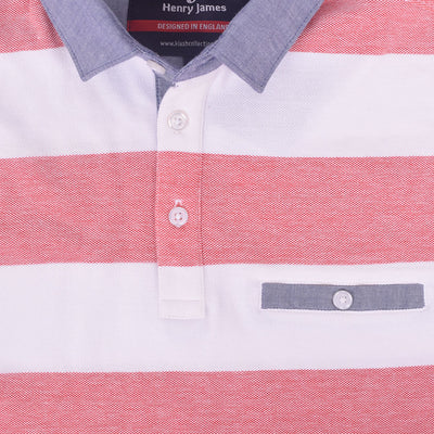 Barbosa Chambray Collar Striped Pocket Polo Shirt - Klashcollection.com
