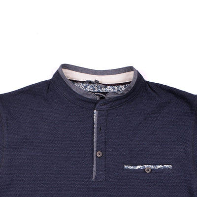 Destoned Mandarin Collar long Sleeve Henley shirt