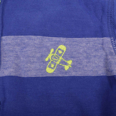 Qlicker Yarn Dyed Striped Placket Hoodie with left Chest Embroidery
