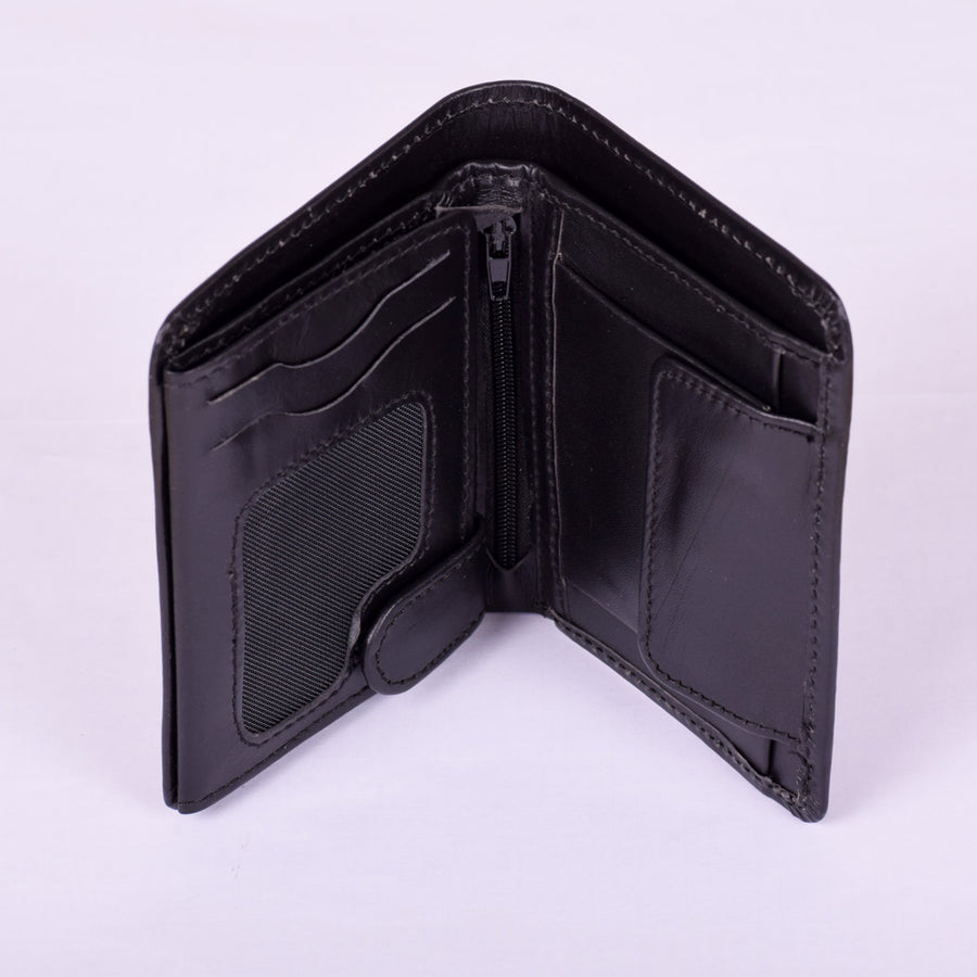 Stone Harbor Black Compact Mens Leather Wallet