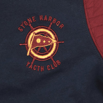 "Stone Harbor ""Yacth Club"" Stand Collar Zipper Jacket With Contrast Quilted Sleeves"