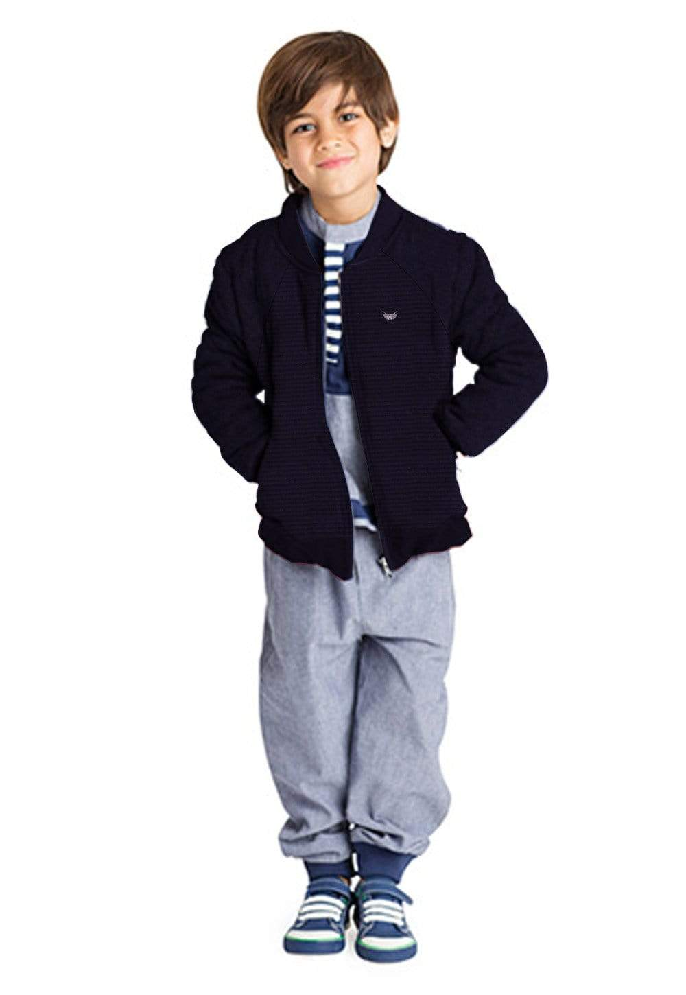 cotton sensations Boy's Zipper Dark Navy / 3-4 Years Boy's Cotton Sensations Dark Navy Zipper