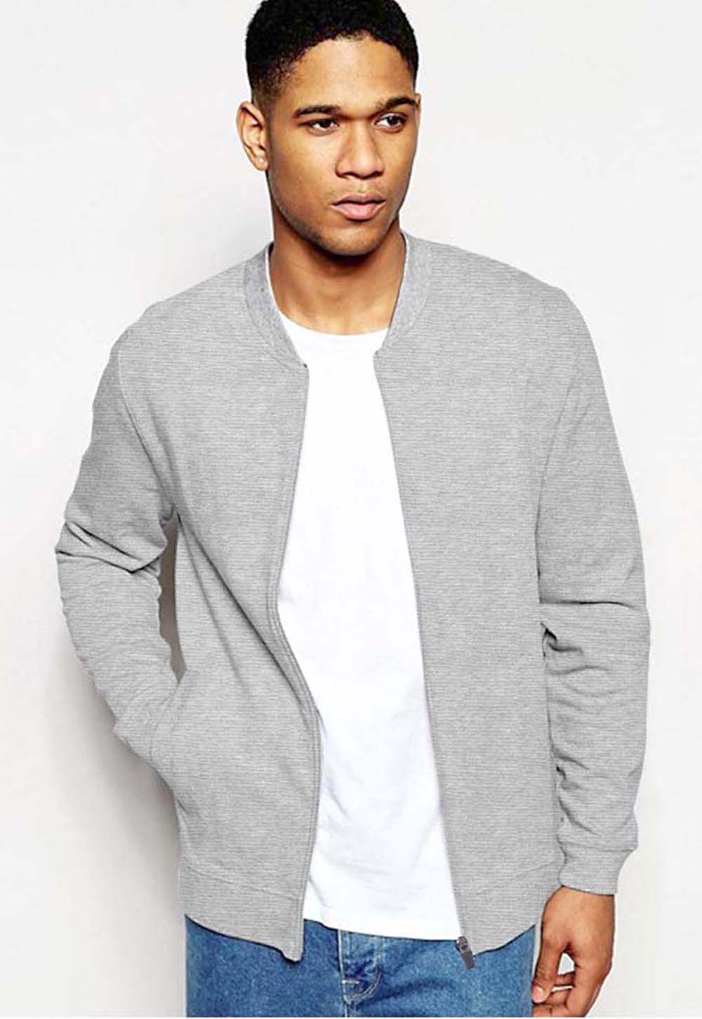 cotton sensations Men's Hoodies Grey / S Men's Cotton Sensations Grey Mock Neck Zipper