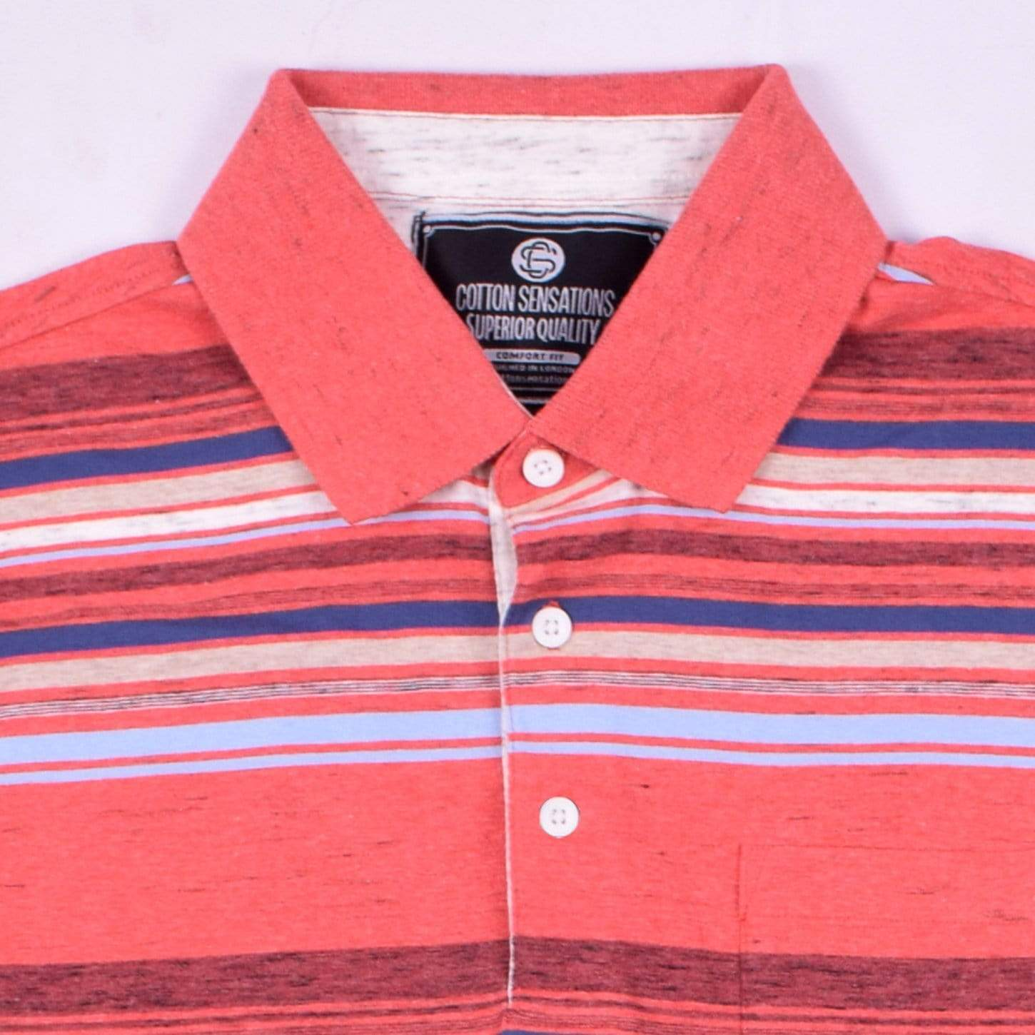 cotton sensations Men's Polo Shirt Coral / S Cotton Sensations Dyed Yarn Eng Striped Jersey Pocket Polo Shirt