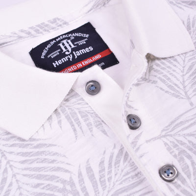 Henry James Allover Leaf Print Short Sleeve Polo Shirt - Crossconnections.com.pk