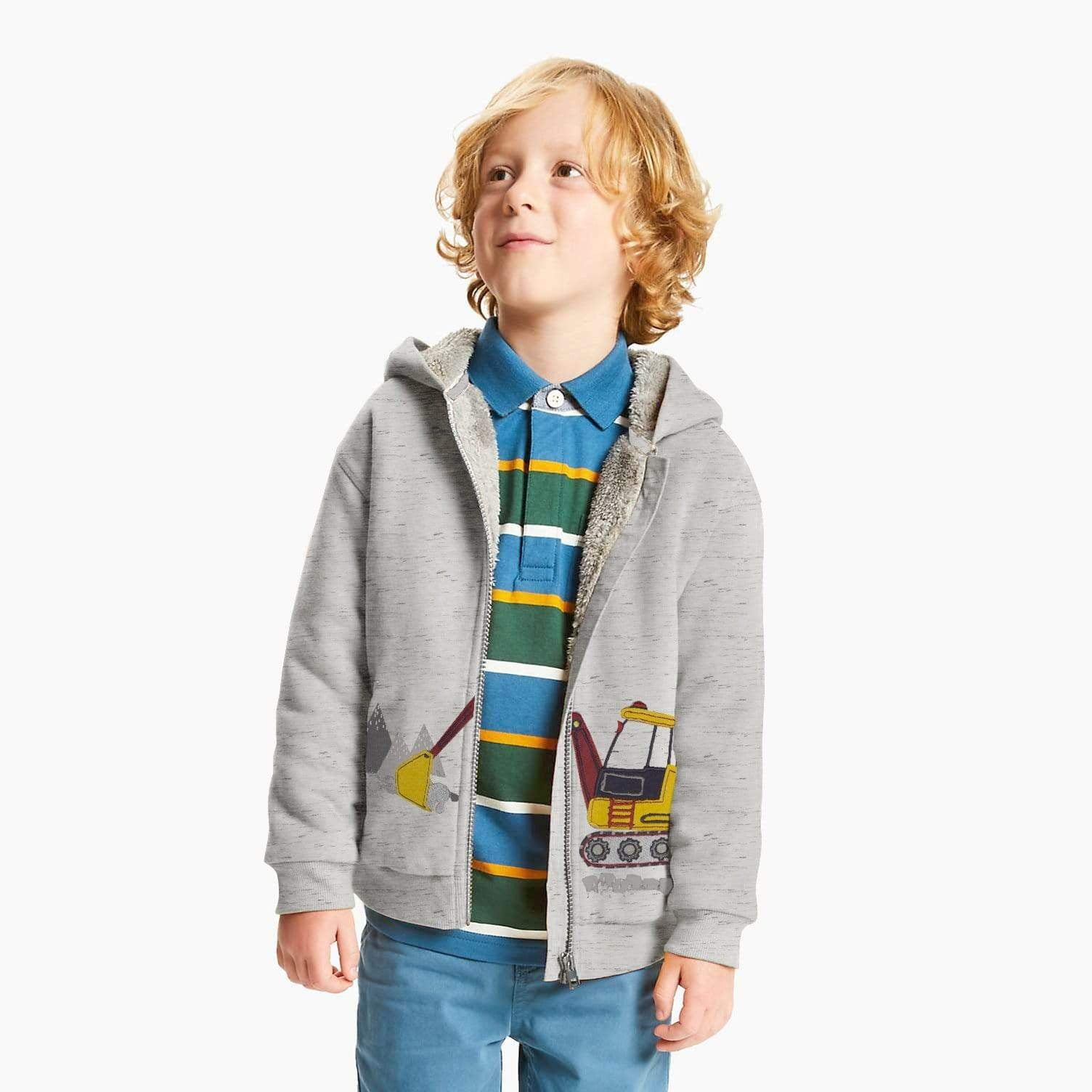 Henry James Boy's Zipper Hoodie Ash / 2-3 Years Boy's Henry James Fur Lined ZIPPER Hoodie