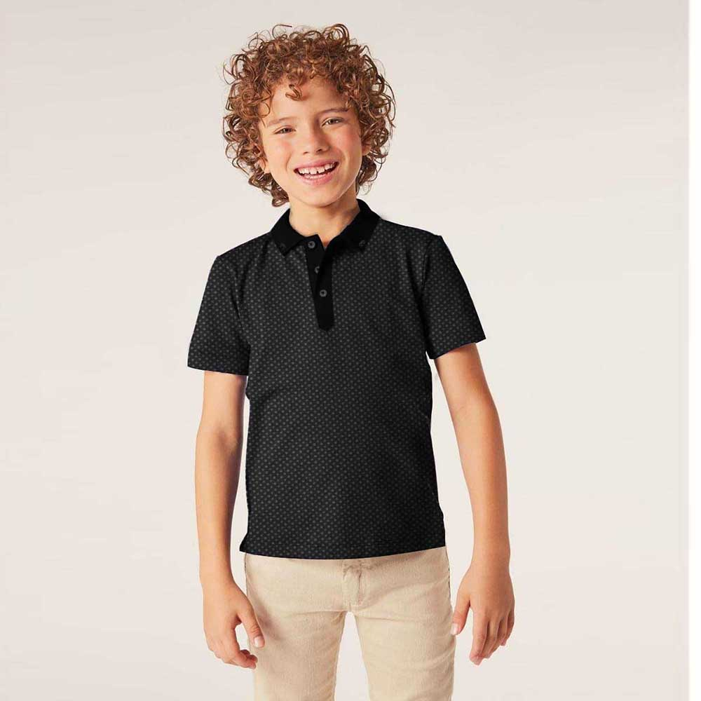 Henry James Kid's Polo Shirt Black / 6-7 Years Boy's Henry James BLACK DOTS Short Sleeve Polo Shirt