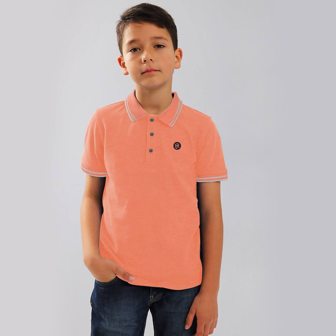 Henry James Kid's Polo Shirt Neon Peach / 4-5 Years Boy's Henry James Flowa Short Sleeve Polo Shirt