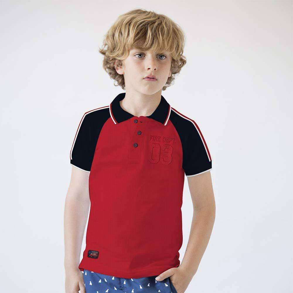 Henry James Kid's Polo Shirt Red / 5-6 Years Boy's Henry James FIRE Short Sleeve Polo Shirt