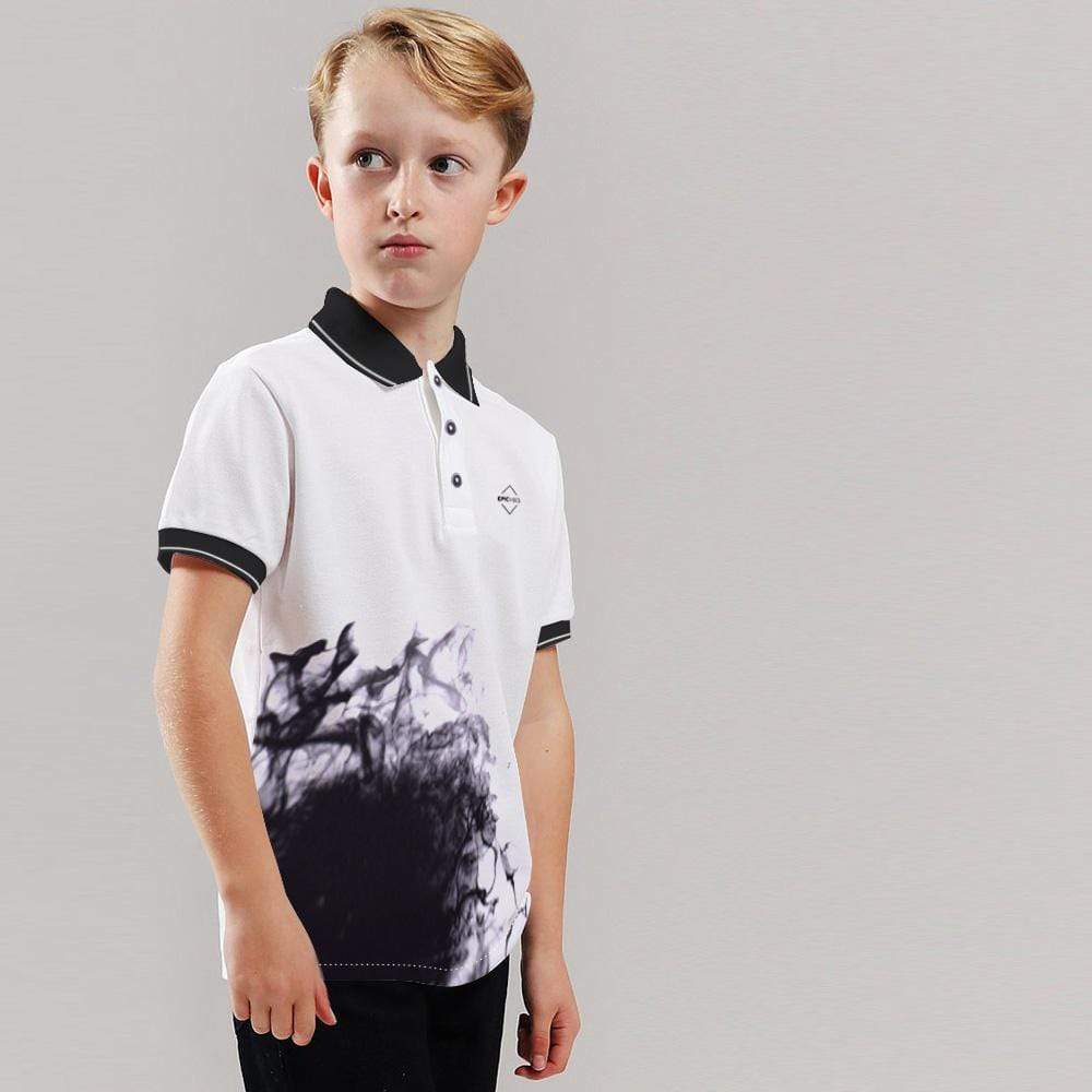 Henry James Kid's Polo Shirt White / 4-5 Years Boy's Henry James EPIC VIBES Smoke Print Polo Shirt