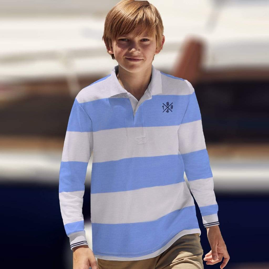 Henry James Kid's Polo Shirt White/Sky / 3-4 Years Boy's Henry James Cross8 Long Sleeve Polo Shirt