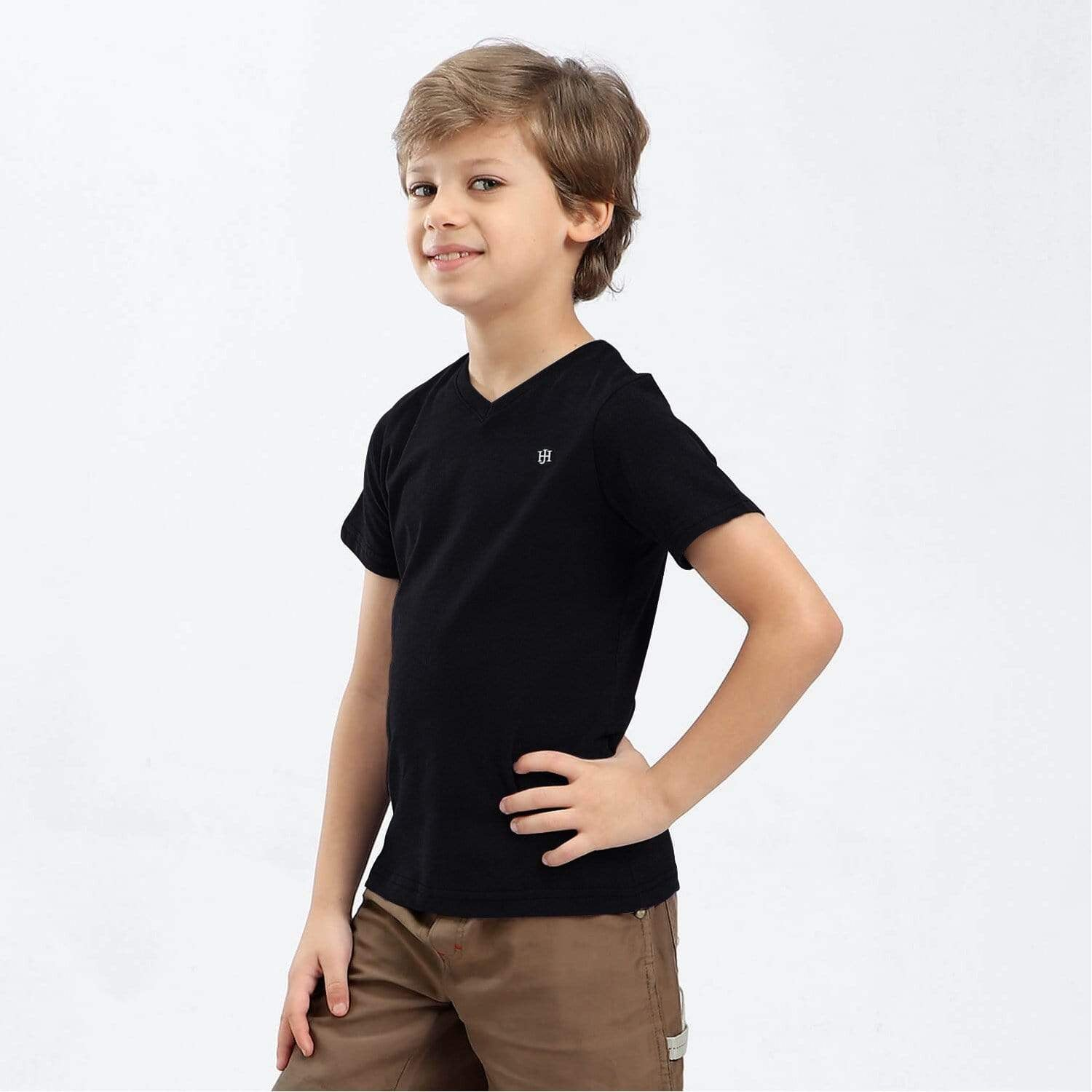 Henry James Kid's T-Shirt Black / 5-6 Years Boy's Henry James Classic V-Neck Neck Tee Shirt