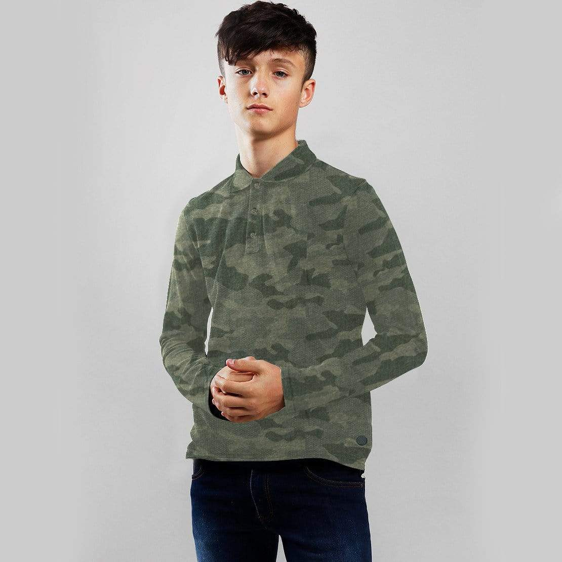 Henry James Kid's T-Shirt Dark Camo / 6-7 Years Boy's Henry James CAMOUFLAGE Long Sleeve Polo Shirt