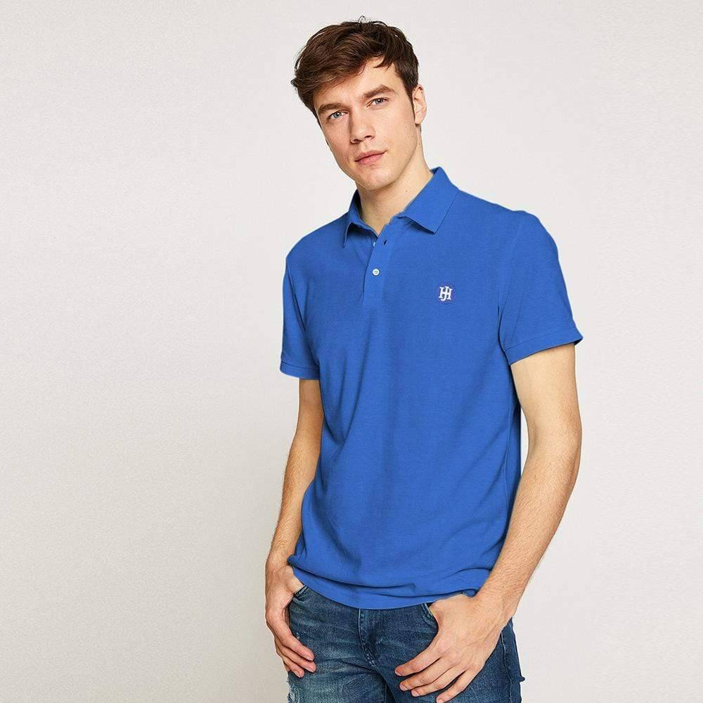 Henry James Men's Polo Shirt Blue / S Henry James Solid Blue Short Sleeve Polo Shirt