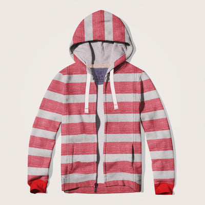 Canains  Textured Striped Fleece hooded zipper Jacket