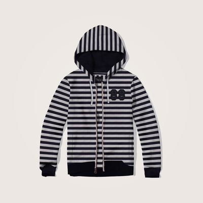 Ainsley Dyed Yarn Striped Embellished zipper hoodie