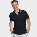 Esteban Tipped Collar Jacquard Jersey Zipper Polo Shirt