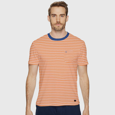 Javier Striped Ringer Neck Pocket T-Shirt - Klashcollection.com