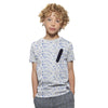 Rex Allover Printed Mock Zipper Pocket Tee Shirt