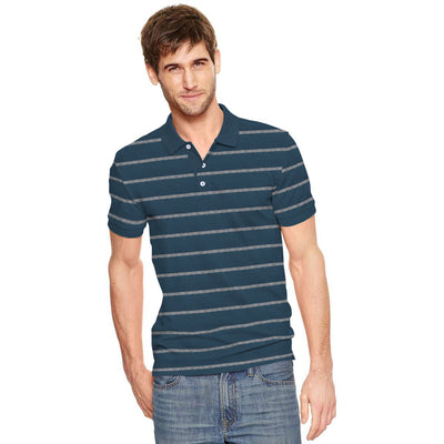 Valentino Dyed Yarn Striped Short Sleeve Polo Shirt - Klashcollection.com