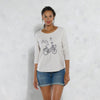 Isabella Quarter Raglan Sleeve Boat Neck Graphic Top - Klashcollection.com