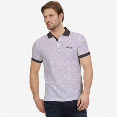 Melango Contrast Collar Textured Polo Shirt - Klashcollection.com
