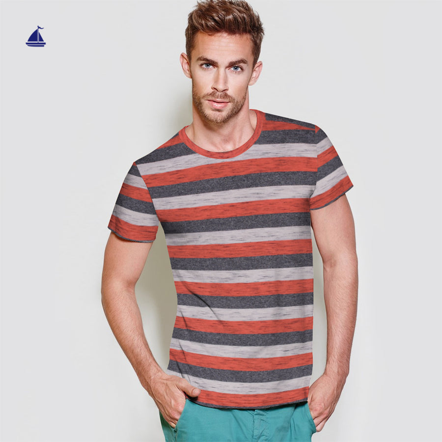 Stone Harbor Textured Striped Short Sleeves Tee Shirt - Klashcollection.com