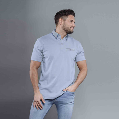 Enzo Sky Texture Collar Short Sleeves Pocket Polo Shirt - Klashcollection.com