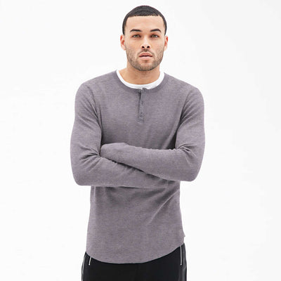 Revolution Textured long sleeve Henley Shirt - Klashcollection.com