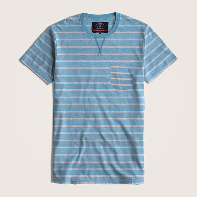Toby Crew Neck Short Sleeves Striped Pocket Tee Shirt - Klashcollection.com